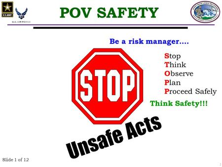 1 Slide 1 of 12 Unsafe Acts POV SAFETY S top T hink O bserve P lan P roceed Safely Be a risk manager…. Think Safety!!!