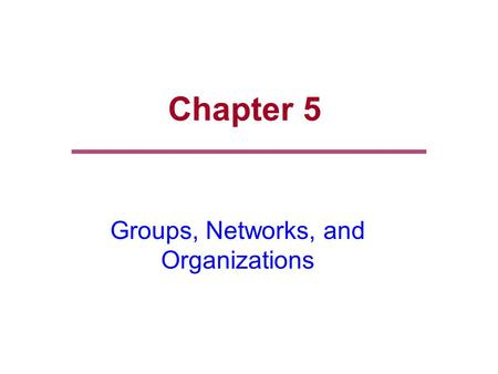Chapter 5 Groups, Networks, and Organizations. Chapter Outline  Human Relations  Social Processes  Groups  Social Networks  Complex Organizations.