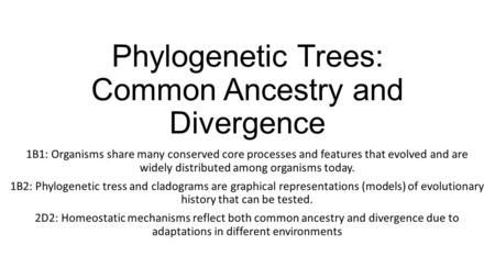 Phylogenetic Trees: Common Ancestry and Divergence 1B1: Organisms share many conserved core processes and features that evolved and are widely distributed.