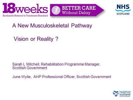 A New Musculoskeletal Pathway Vision or Reality ? Sarah L Mitchell, Rehabilitation Programme Manager, Scottish Government June Wylie, AHP Professional.