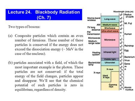 Lecture 24. Blackbody Radiation (Ch. 7) Two types of bosons: (a)Composite particles which contain an even number of fermions. These number of these particles.