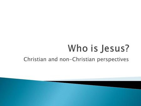 Christian and non-Christian perspectives.  There are three branches of Christianity: Catholic, Orthodox, and Protestant (C.O.P.)  All Christians believe.