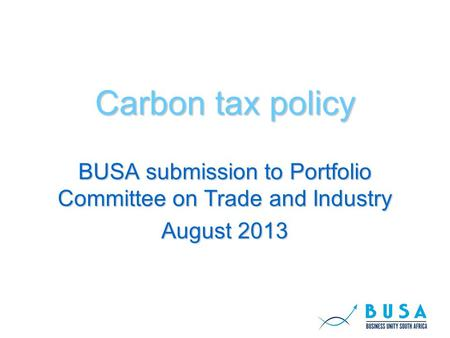 Carbon tax policy BUSA submission to Portfolio Committee on Trade and Industry August 2013.