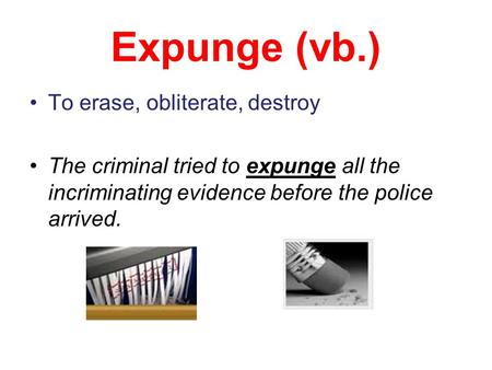 Expunge (vb.) To erase, obliterate, destroy The criminal tried to expunge all the incriminating evidence before the police arrived.