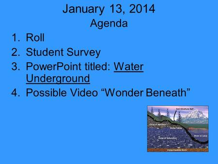 "January 13, 2014 Agenda 1.Roll 2.Student Survey 3.PowerPoint titled: Water Underground 4.Possible Video ""Wonder Beneath"""