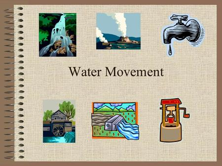 Water Movement. The World's Water 97% Salt Water 2.5 % Frozen Fresh Water.5% Usable Fresh Water.