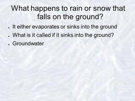 What happens to rain or snow that falls on the ground?