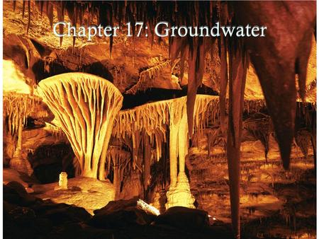 Chapter 17: Groundwater. Distribution of Fresh Water.