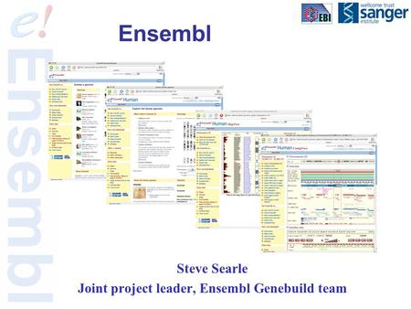 Ensembl Steve Searle Joint project leader, Ensembl Genebuild team.