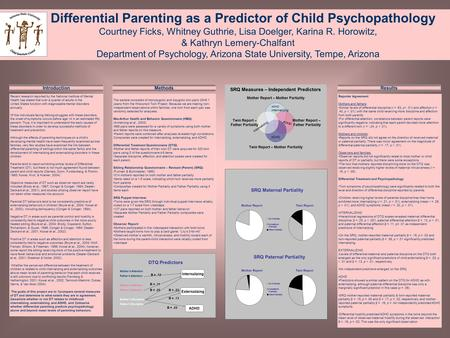 Differential Parenting as a Predictor of Child Psychopathology Courtney Ficks, Whitney Guthrie, Lisa Doelger, Karina R. Horowitz, & Kathryn Lemery-Chalfant.