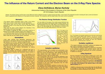 The Influence of the Return Current and the Electron Beam on the X-Ray Flare Spectra Elena Dzifčáková, Marian Karlický Astronomical Institute of the Academy.