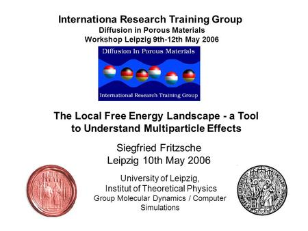 The Local Free Energy Landscape - a Tool to Understand Multiparticle Effects University of Leipzig, Institut of Theoretical Physics Group Molecular Dynamics.