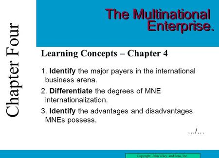 Chapter Four Copyright, John Wiley and Sons, Inc. Chapter Four three Learning Concepts – Chapter 4 1. Identify the major payers in the international business.