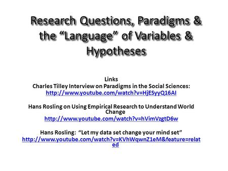 "Research Questions, Paradigms & the ""Language"" of Variables & Hypotheses Links Charles Tilley Interview on Paradigms in the Social Sciences:"