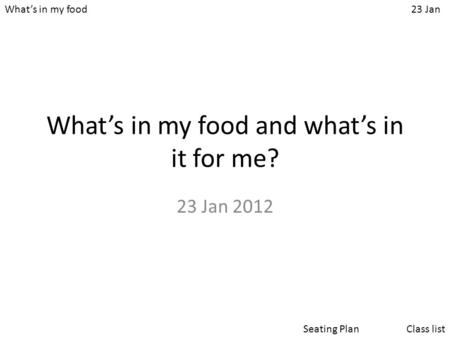 What's in my food23 Jan Class listSeating Plan What's in my food and what's in it for me? 23 Jan 2012.