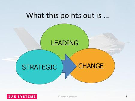What this points out is … 1 LEADING CHANGE © James G. Clawson STRATEGIC.
