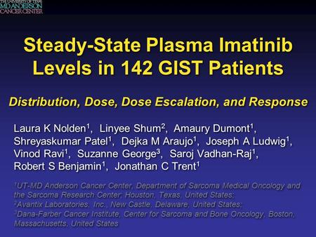 Steady-State Plasma Imatinib Levels in 142 GIST Patients Distribution, Dose, Dose Escalation, and Response Laura K Nolden 1, Linyee Shum 2, Amaury Dumont.