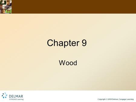 Copyright © 2009 Delmar, Cengage Learning Chapter 9 Wood.
