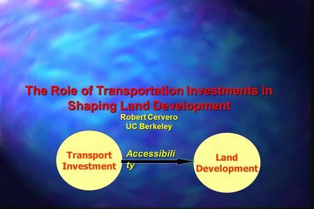 Land Development Transport Investment Accessibili ty The Role of Transportation Investments in Shaping Land Development Robert Cervero UC Berkeley.