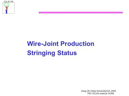 Seog Oh/ Duke University/Oct, 2002 TRT/ ATLAS week at CERN Wire-Joint Production Stringing Status.