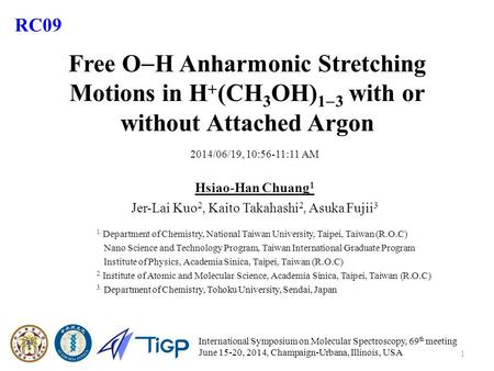 Free O  H Anharmonic Stretching Motions in H  (CH 3 OH) 1  3 with or without Attached Argon 2014/06/19, 10:56-11:11 AM Hsiao-Han Chuang 1 Jer-Lai Kuo.