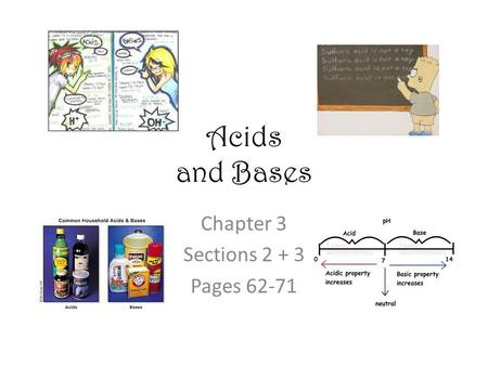 Acids and Bases Chapter 3 Sections 2 + 3 Pages 62-71.
