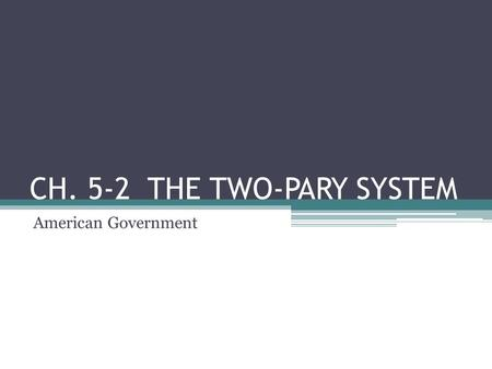 CH. 5-2 THE TWO-PARY SYSTEM American Government. WHY A TWO-PARTY SYSTEM? Do you know Earl Dodge? December 24, 1932 – November 7, 2007 He has run for President.
