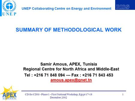 UNEP Collaborating Centre on Energy and Environment CD for CDM - Phase 1 - First National Workshop, Egypt 17-18 December 2002 1 SUMMARY OF METHODOLOGICAL.