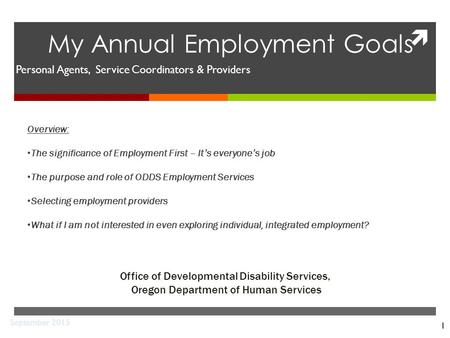  1 My Annual Employment Goals Office of Developmental Disability Services, Oregon Department of Human Services September 2015 Personal Agents, Service.
