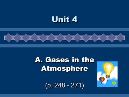 A. Gases in the Atmosphere (p. 248 - 271) Unit 4.
