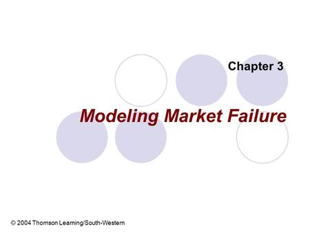 Modeling Market Failure Chapter 3 © 2004 Thomson Learning/South-Western.