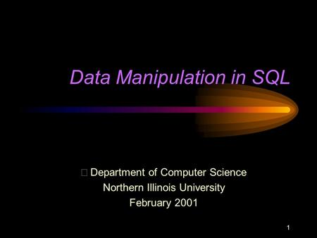 1 Data Manipulation in SQL  Department of Computer Science Northern Illinois University February 2001.