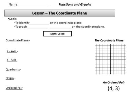 Lesson – The Coordinate Plane Functions and Graphs Name:__________________ Goals: To identify____________ on the coordinate plane. To graph ____________.