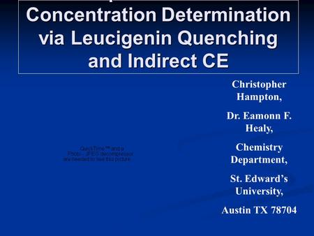 Aquious Halide Concentration Determination via Leucigenin Quenching and Indirect CE Christopher Hampton, Dr. Eamonn F. Healy, Chemistry Department, St.