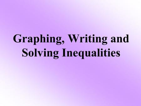 Graphing, Writing and Solving Inequalities. 1.graph inequalities on a number line. 2.solve inequalities using addition and subtraction. Objective The.