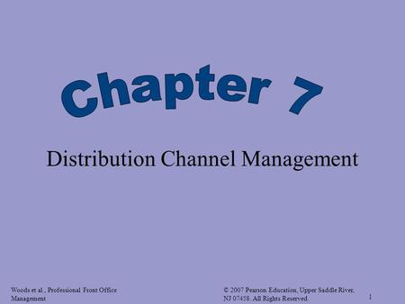 Woods et al., Professional Front Office Management © 2007 Pearson Education, Upper Saddle River, NJ 07458. All Rights Reserved. 1 Distribution Channel.
