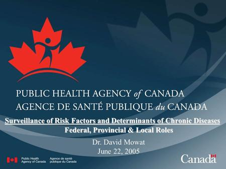 Dr. David Mowat June 22, 2005 Federal, Provincial & Local Roles Surveillance of Risk Factors and Determinants of Chronic Diseases.