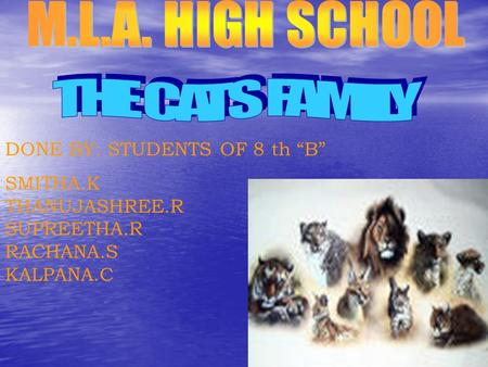 "DONE BY: STUDENTS OF 8 th ""B"" SMITHA.K THANUJASHREE.R SUPREETHA.R RACHANA.S KALPANA.C."