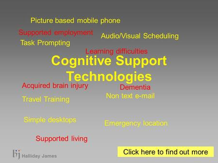 Halliday James Cognitive Support Technologies Task Prompting Audio/Visual Scheduling Travel Training Non text e-mail Simple desktops Emergency location.