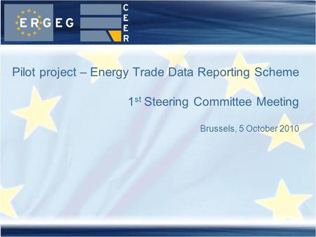 Pilot project – Energy Trade Data Reporting Scheme 1 st Steering Committee Meeting Brussels, 5 October 2010.