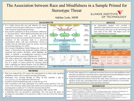 The Association between Race and Mindfulness in a Sample Primed for Stereotype Threat Adeline Leόn, MSW An independent samples t-test revealed a significant.