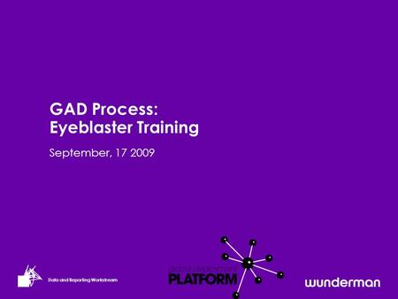 Data and Reporting Workstream September, 17 2009 GAD Process: Eyeblaster Training.