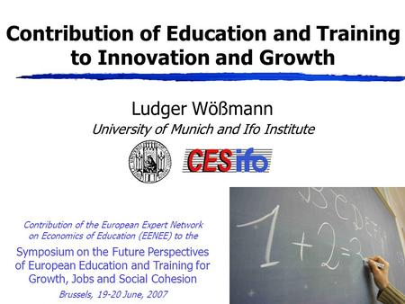 Contribution of Education and Training to Innovation and Growth