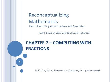 CHAPTER 7 – COMPUTING WITH FRACTIONS