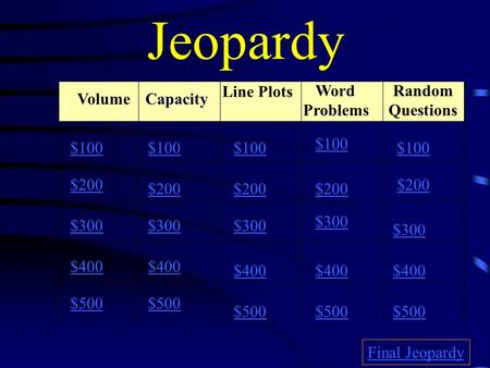 Jeopardy Volume Line Plots Word Problems Random Questions $100 $200 $300 $400 $500 $100 $200 $300 $400 $500 Final Jeopardy Capacity.