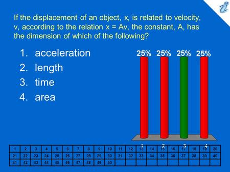 If the displacement of an object, x, is related to velocity, v, according to the relation x = Av, the constant, A, has the dimension of which of the following?