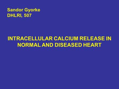 INTRACELLULAR CALCIUM RELEASE IN NORMAL AND DISEASED HEART Sandor Gyorke DHLRI, 507.
