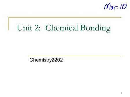 Unit 2: Chemical Bonding Chemistry2202 1. Outline  Bohr diagrams  Lewis Diagrams  Types of Bonding  Ionic bonding  Covalent bonding (Molecular) 