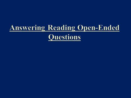 Question Format HSPA Open-Ended Questions will always have 2 bullet points. Before the bullet points, there will be a brief explanation or statement which.