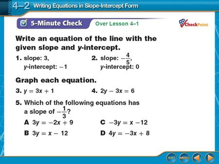 Over Lesson 4–1. Splash Screen Writing Equations in Slope-Intercept Form Lesson 4-2.